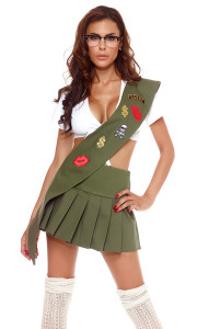 Girl Scout costume includes: Tie-front crop top, pleated skirt, glasses, and sash with ornamental patches. (STOCKINGS SOLD SEPARATELY)