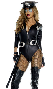 Sexy Cop costume includes: Faux leather bodysuit with badge, matching gloves, and aviator glasses.(BATON, COP HAT, HOSIERY, AND RHINESTONE HANDCUFF BELT NOT INCLUDED)