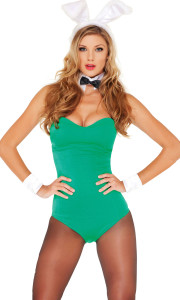 Sexy Bunny Rabbit costume includes: Luminous green, form fitting bodysuit, floppy ears, white collar and cuffs.