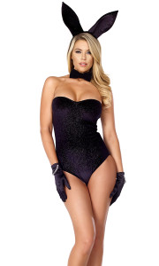 Sexy Bunny Rabbit costume includes: Black shimmer bodysuit, formal bow tie, and soft ear headband. (GLOVES SOLD SEPARATELY)