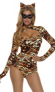 Sexy Cat costume includes: Long sleeve tiger print bodysuit with chest cutout, matching ear headband, and gloves. (MASK SOLD SEPARATELY)