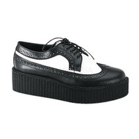 CREEPER-408, Black and White Leather Creeper Shoes Made by Demonia