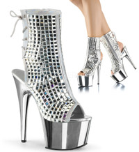 Adore-1018DBM, 7 Inch Ankle Boots with Disco Ball Mirrors