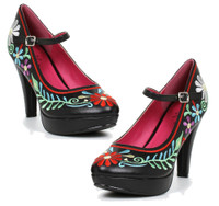 4 inch maryjane pump with flowers design