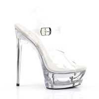 Eclipse-608, 6.5 Inch Cut out Platform Ankle Strap Sandal