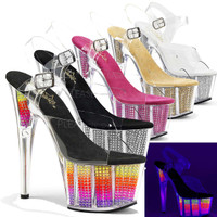 Adore-708SRS, 7 Inch Stiletto Heel Stimulated Rhinestones Platform Bottom