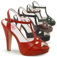 Bettie-23, 4.5 Inch Peep Toe T-Strap Sandal