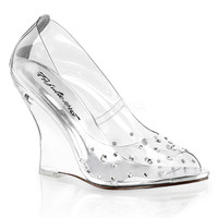Lovely-420RS, 4 Inch Peep Toe Wedge
