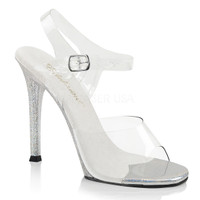 Gala-08MG, 4.5 Inch Heel Ankle Strap with Mini Glitters