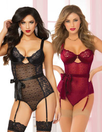 STM-10692, 2pc Floral Galloon and Geo Lace Teddy