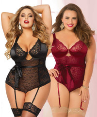STM-10692X, Geo Lace Teddy with Satin Sash