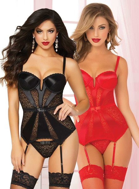 STM-10698, Geo Lace and Satin Bustier