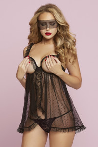 STM-10727, Dot Mesh Open Cup Babydoll