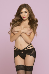 STM-10777, Two Strap Lace Garterbelt with Strappy Detail