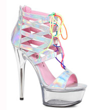 609-Caprice, 6 Inch Hologram Lace Up Sandal