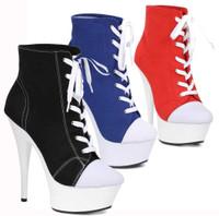 609-Sneaks, 6 Inch Platform Sneaker Bootie