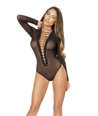 LI184, Sheer Lace up Front Bodysuit