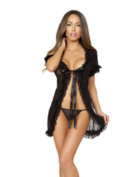 LI166, Sheer Babydoll with Ruffle Trimmed