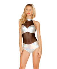 R-3437, Sheer Romper with Panel
