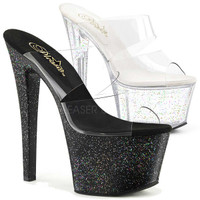 Sky-302MG, 7 Inch High Heel with Mini Glitters Platform Double Band Slide