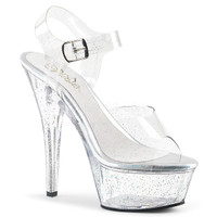 Kiss-208MMG, 6 Inch High Heel Ankle Strap Platform Sandal with Mini Glitters