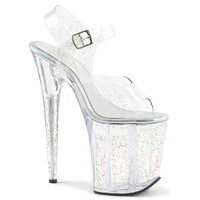 Flamingo-808MMG, 8 Inch Stiletto Heel Platform Sandal with Mini Glitters