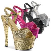 Sky-310LG, 7 Inch High Heel Glitter Platform Ankle Strap Sandal