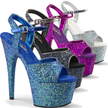 Adore-710LG, 7 Inch High Heel Ankle Strap Sandal with Holographic Glitter