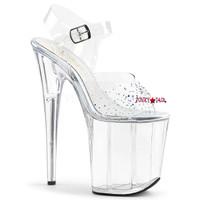 Flamingo-808SD, 8 Inch High Heel Ankle Strap with Rhinestones on Vamp