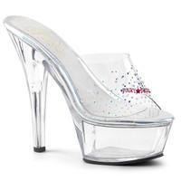 Kiss-201SD, 6 Inch High Heel Sandal with Rhinestones on Vamp