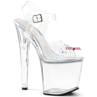 Taboo-708SD, 7.5 Inch High Heel Ankle Strap Platform Sandal with Rhinestones on Vamp
