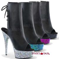 Delight-1018LG, 6 Inch Heel with Peep Toe and Glitter Platform Ankle Boots