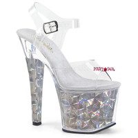 Radiant-708HHG, 7 Inch High Heel Sandal with Hexagon Holographic Bottom