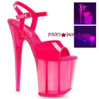 Flamingo-809UVT, 8 Inch Ankle Strap Platform Sandal with Tinted Bottom