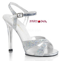 Gala-19, 4.5 Inch Heel Sandal with Glitter Criss Cross Straps