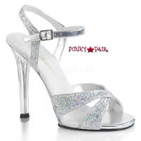 Gala-19, 4.5 Inch Heel Sandal with Glitter Criss Cross Straps