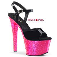 Sky-309UVLG,7 Inch High Heel Ankle Strap Sandal with Reactive Glitter Platform