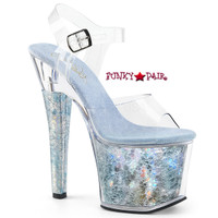 Radiant-708THG, 7 Inch High Heel Ankle Strap Sandal with Holographic Platform