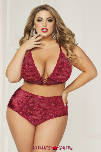 STM-10817X, Crushed Velvet and Bralette and High Waisted Panty