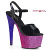 Adore-709Ombre, 7 Inch Heel Sandal with Glitter Ombre Effect Platform
