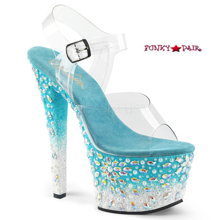 Sky-308FISH, 7 Inch Heel Platform Sandal with Fish Design on Platform