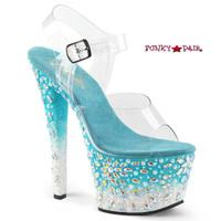 Sky-308FISH, 7 Inch Heel Platform Sandal with Fish Design on Platform
