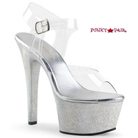 Aspire-608MG, 6 Inch Ankle Strap with Holographic Glitter Platform