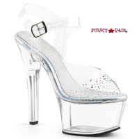 Aspire-608SD, 6 Inch Ankle Strap with Mini Rhinestone on Vamp
