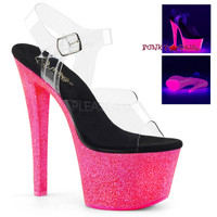 Sky-308UVG, 7 Inch High Heel with UV Blacklight Reactive Platform