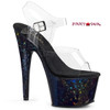 Adore-708HSP, 7 Inch High Heel Sandal with Holographic Shatter Patterns