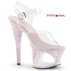 Moon-708LG, 7 Inch High Heel Cut-Out Platform Ankle Strap Sandal with Glitters