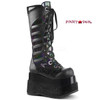 Bear-205, 4.5 Inch Platform Lace up Knee High Boots with Cone Studs