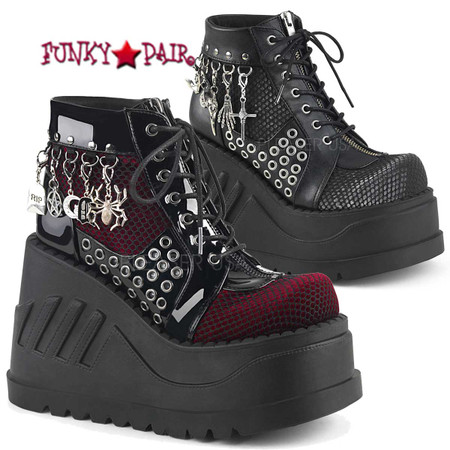 Stomp-18, 4.75 Inch Platform Lace-up Front Wedge Booties