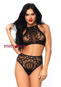 LA81552, Crochet Lace Crop Top and High Waist Thong
